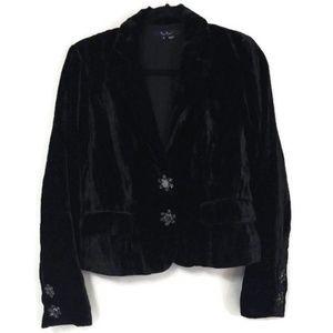 ECI New York Crushed Velvet Blazer Black 8